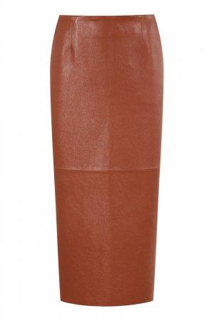 Коричневая кожаная юбка Magda Butrym. Цвет: коричневый