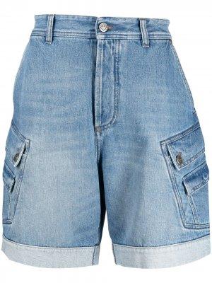 Джинсовые шорты с вышитым логотипом Balmain. Цвет: синий