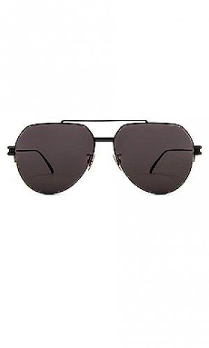 Солнцезащитные очки metal double bridge pilot Bottega Veneta. Цвет: черный