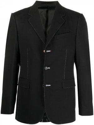 Пиджак с контрастной строчкой Versace. Цвет: черный