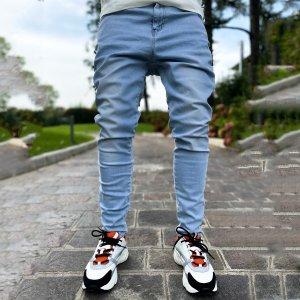 Мужской Зауженные джинсы застежка SHEIN. Цвет: легко-синий