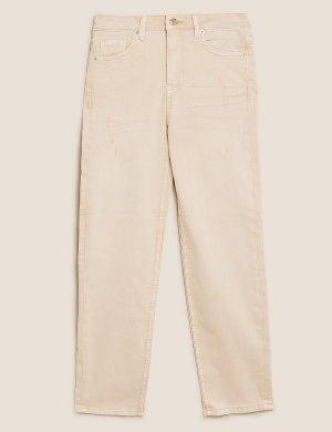Укороченные джинсы слим средней посадки M&S Collection. Цвет: умеренный синий