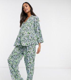 Пижама из 100% модала с цветочным принтом ASOS DESIGN Maternity-Зеленый Maternity
