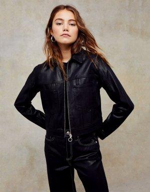 Черная джинсовая куртка с покрытием -Черный цвет Topshop