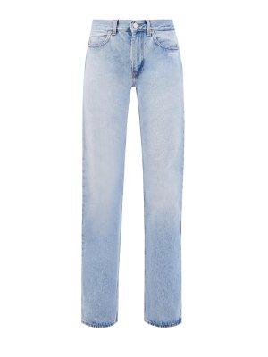 Прямые джинсы на высокой посадке из хлопкового денима OFF-WHITE. Цвет: голубой