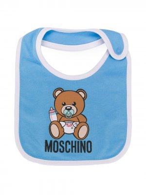 Нагрудник с принтом Moschino Kids. Цвет: синий