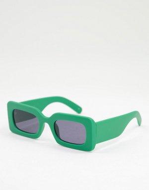 Солнцезащитные очки в зеленой квадратной оправе стиле унисекс -Зеленый цвет Jeepers Peepers
