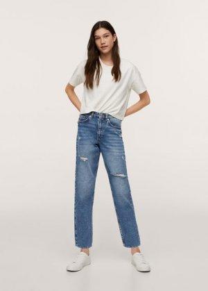 Нарочно рваные джинсы mom fit - Mumt Mango. Цвет: синий средний