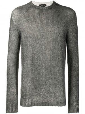 Трикотажный свитер с круглым вырезом Avant Toi. Цвет: серый