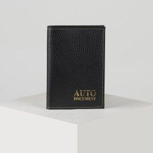 Обложка для автодокументов, цвет чёрный TEXTURA