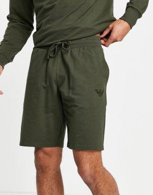 Шорты из махровой ткани цвета хаки с логотипом в тон -Зеленый цвет Emporio Armani Bodywear