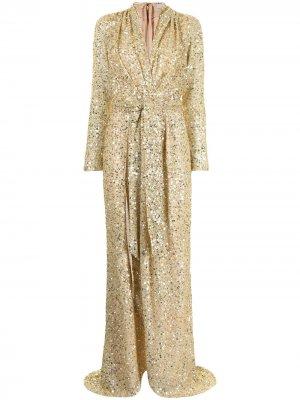 Вечернее платье с пайетками Badgley Mischka. Цвет: золотистый