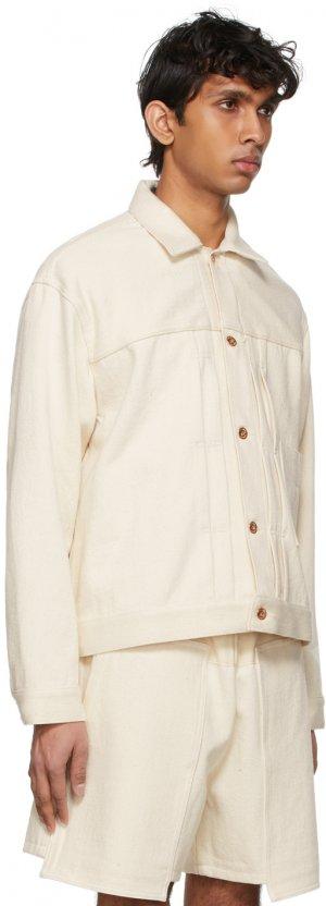 Off-White Denim Loose Big Jacket Kuro. Цвет: off white