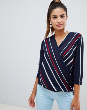 Блузка в полоску с запахом Forever Unique