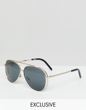 Солнцезащитные очки-авиаторы в золотистой оправе inspired Reclaimed Vintage. Цвет: золотой