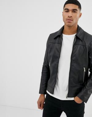 Приталенная кожаная куртка -Черный цвет Bolongaro Trevor