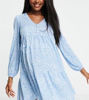 Платье с присборенной юбкой длинными рукавами и узором голубого цвета -Голубой New Look Maternity