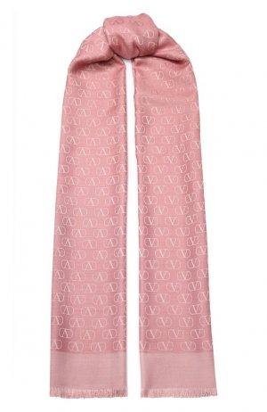 Шаль Garavani из смеси шелка и шерсти Valentino. Цвет: розовый