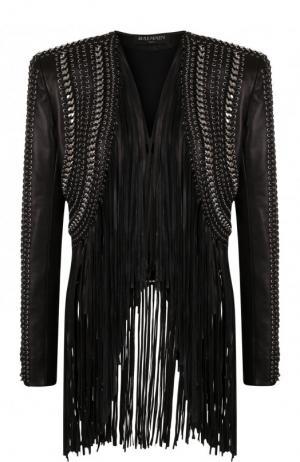 Кожаная куртка с бахромой Balmain. Цвет: черный