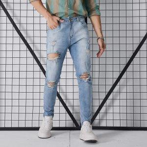 Мужской Рваные джинсы с карманом SHEIN. Цвет: легко-синий