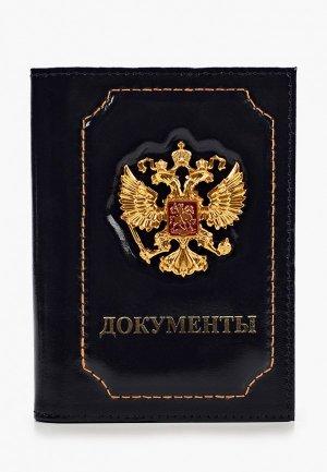 Обложка для паспорта Forte St.Petersburg с пластиковым блоком документов. Цвет: синий