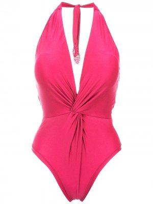 Twisted detail halterneck swimsuit Martha Medeiros. Цвет: розовый