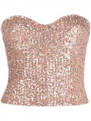 Sequinned corset bandeaux top Elisabetta Franchi. Цвет: коричневый