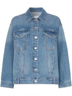 Джинсовая куртка с потертостями SJYP. Цвет: синий