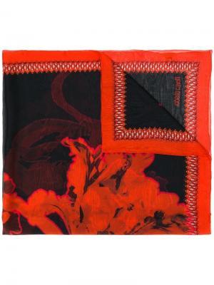 Платок с цветочным принтом Roberto Cavalli. Цвет: красный