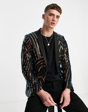 Черный костюмный пиджак с радужным геометрическим узором из пайеток -Разноцветный Twisted Tailor
