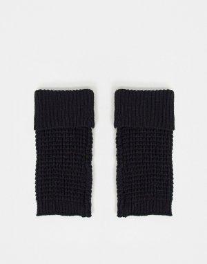 Черные вязаные варежки без пальцев -Черный цвет ASOS DESIGN