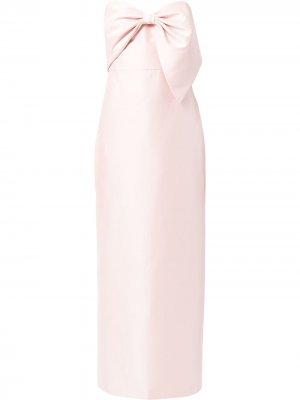Mikado bow-detail strapless gown Badgley Mischka. Цвет: розовый