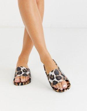 Шлепанцы с леопардовым принтом -Мульти ASOS DESIGN