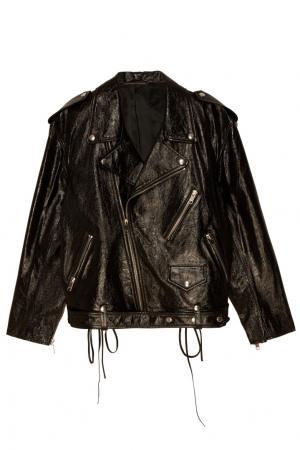Короткая кожаная куртка Alexander Terekhov. Цвет: черный