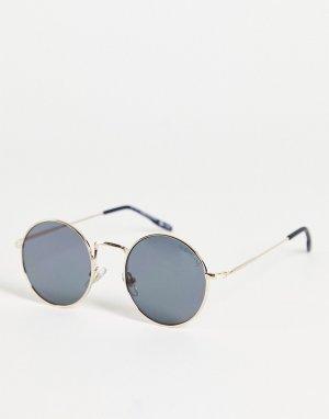 Круглые солнцезащитные очки в золотистой оправе с плоскими стеклами -Золотистый River Island