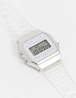 Цифровые часы в стиле унисекс с прозрачным ремешком F-91WS-7EF Unisex-Прозрачный Casio