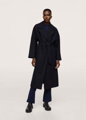 Пальто с большими лацканами, шерстью - Time Mango. Цвет: глубокий темно-синий