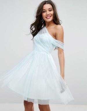 Сетчатое платье мини для выпускного на одно плечо ASOS DESIGN