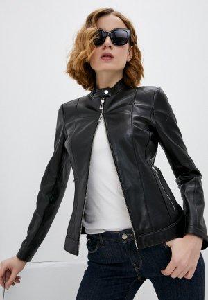Куртка кожаная Hugo Lusea. Цвет: черный