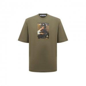 Хлопковая футболка Off-White. Цвет: хаки