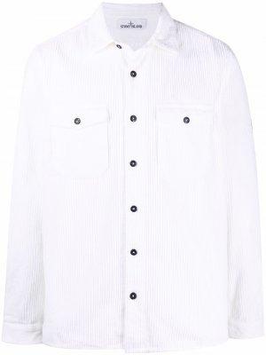 Вельветовая куртка-рубашка Stone Island. Цвет: белый