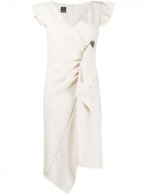 Платье миди с оборками Pinko. Цвет: нейтральные цвета