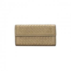 Кожаный кошелек с плетением intrecciato Bottega Veneta. Цвет: золотой