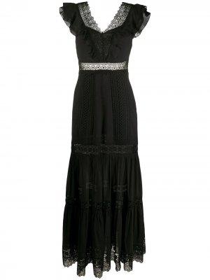 Платье с кружевное отделкой Charo Ruiz Ibiza. Цвет: черный