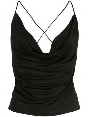 Платье-комбинация с драпировкой Opening Ceremony. Цвет: черный