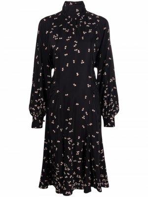 Floral-print silk dress Nº21. Цвет: черный