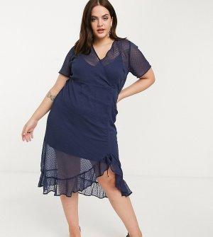 Темно-синее полупрозрачное платье с запахом и оборками -Черный Junarose