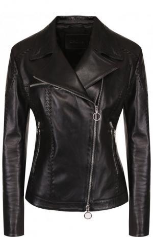 Однотонная кожаная куртка с косой молнией DROMe. Цвет: черный