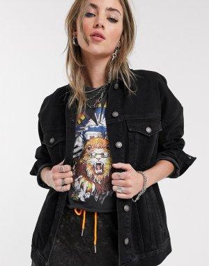 Черная джинсовая куртка свободного кроя -Черный Bershka