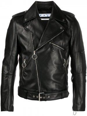 Байкерская куртка с логотипом Off-White. Цвет: черный